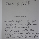 Handwritten 16th Testimonial on The Denture & Implant Clinic