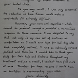 Handwritten 17th Testimonial on The Denture & Implant Clinic