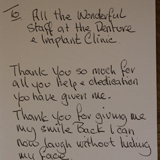 Handwritten 37th Testimonial on The Denture & Implant Clinic